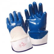 BRAWLER™ PREMIUM DIPPED NITRILE, PALM COATED, JERSEY LINED, SAFETY CUFF, SANITIZED®