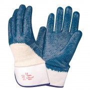 BRAWLER™ PREMIUM DIPPED NITRILE, ROUGH PALM COATED,  JERSEY LINED, SAFETY CUFF, SANITIZED®