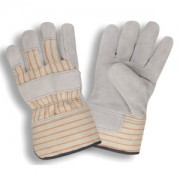 SPLIT LEATHER PALM, STRIPED CANVAS BACK, RUBBERIZED SAFETY CUFF, FOAM AND FLEECE LINED