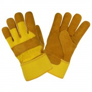 PREMIUM SHOULDER, RUSSET COLOR LEATHER, YELLOW BACK, YELLOW RUBBERIZED SAFETY CUFF