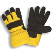 BLACK SPLIT LEATHER PALM, YELLOW CANVAS BACK, RUBBERIZED SAFETY CUFF, PILE LINED