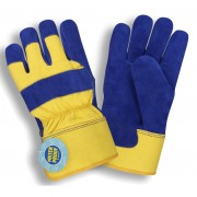 BLUE SPLIT LEATHER PALM, YELLOW CANVAS BACK, CONVERTIBLE KNIT WRIST/RUBBERIZED SAFETY CUFF, THINSULATE® & WATERPROOF LINING