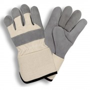 PREMIUM, DOUBLE CHROME TANNED, HEAVY SIDE SPLIT LEATHER, WHITE CANVAS BACK, RUBBERIZED GAUNTLET CUFF, ARAMID SEWN