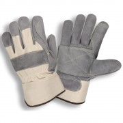 TUF-COR™ HEAVY SIDE SPLIT LEATHER, DOUBLE PALM, WHITE CANVAS BACK, RUBBERIZED SAFETY CUFF, ARAMID SEWN