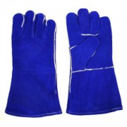 SELECT SHOULDER LEATHER WELDER, REINFORCED PALM, STRAIGHT THUMB, ARAMID SEWN, FULL SOCK LINING WITH FOAM, BLUE