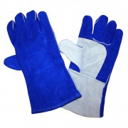 REGULAR SHOULDER LEATHER WELDER, THUMB GUARD & PATCH PALM, FULL SOCK LINING, BLUE