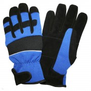 PIT PRO™ ACTIVITY GLOVE, BLACK SYNTHETIC LEATHER PALM, BLUE SPANDEX BACK, THINSULATE® LINED, HOOK & LOOP CLOSURE, LARGE