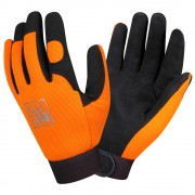 PIT PRO™ ACTIVITY GLOVE, BLACK SYNTHETIC LEATHER PALM, ORANGE SPANDEX BACK, HOOK & LOOP CLOSURE, LARGE