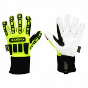 OGRE™, LIME GREEN SPANDEX BACK, CORDED CANVAS PALM, TPR PROTECTORS, HIPORA® LINING, NEOPRENE CUFF