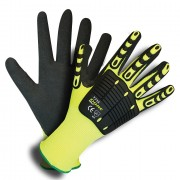OGRE-IMPACT™  13-GAUGE, HI-VIS LIME POLYESTER SHELL, TPR PROTECTORS, INTERIOR FOAM PALM PADDING, BLACK SANDY NITRILE PALM COATING