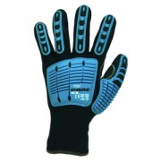 OGRE-ICE™: TWO-PLY THERMAL SHELL, BLACK POLYESTER OUTER, BRUSHED ACRYLIC INNER, TPR PROTECTORS, BLACK SANDY NITRILE PALM COATING