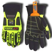 OGRE-KV™ LIME GREEN SPANDEX BACK, ARAMID FABRIC PALM, TPR PROTECTORS,  NEOPRENE CUFF, ANSI CUT LEVEL 3