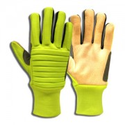 COLOSSUS IV™ HI-VIS SPANDEX BACK, FOAM METACARPAL PADDING, CORDED CANVAS PALM, NYLON KNIT WRIST