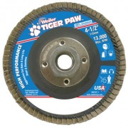 "4-1/2"" TIGER PAW ABRASIVE FLAP DISC- ANGLED- 60Z"