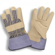 STANDARD GRAIN LEATHER PALM, STRIPED CANVAS BACK, RUBBERIZED SAFETY CUFF