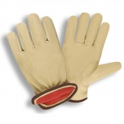 PREMIUM GRAIN PIGSKIN DRIVER, RED FLEECE LINED, SHIRRED ELASTIC BACK, KEYSTONE THUMB