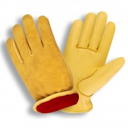 SELECT GRAIN DEERSKIN DRIVER, RED FLEECE LINED, SHIRRED ELASTIC BACK, KEYSTONE THUMB