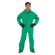 APEX FR™ .45 MM GREEN PVC/NYLON SCRIM/PVC, 2-PIECE ACID/CHEMICAL SUIT, LIMITED FLAME RESISTANT, STORM FLY FRONT WITH ZIPPER SNAP BUTTONS, BIB STYLE PANTS WITH SUSPENDERS, ATTACHED HOOD