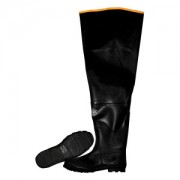 BLACK HIP BOOT WITH ADJUSTABLE STRAPS, PLAIN TOE, COTTON LINED, 32-INCH LENGTH, SIZE 8