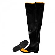 BLACK HIP BOOT WITH ADJUSTABLE STRAPS, STEEL TOE & SHANK, COTTON LINED, 36-INCH LENGTH, SIZE 6