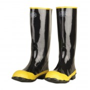 BLACK BOOT WITH BLACK RIBBED SOLE, YELLOW STEEL TOE & STEEL SHANK, COTTON LINED, 16-INCH LENGTH, OVER-THE-SOCK STYLE, SIZE 6
