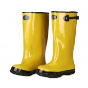 YELLOW SLUSH BOOT WITH BLACK RIBBED SOLE, COTTON LINED, 17-INCH LENGTH, OVER-THE-SHOE STYLE, SIZE 6