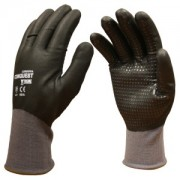 CONQUEST XTREME™, PREMIUM, GRAY NYLON/SPANDEX SHELL, FULL BLACK FOAM NITRILE/PU COATING, BLACK NITRILE DOTS
