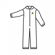 DEFENDER™ WHITE MICROPOROUS COVERALL, ZIPPER FRONT AND COLLAR, ELASTIC WRISTS AND ANKLES