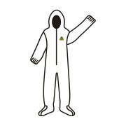 DEFENDER™ WHITE MICROPOROUS COVERALL WITH HOOD & BOOTS, ZIPPER FRONT, ELASTIC AT HOOD, WRISTS & ANKLES/BOOTS