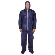 Blue Disposable Polypropylene Coverall, Hood, Boots & Elastic Wrist