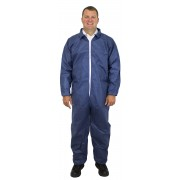Blue Disposable Polypropylene Coverall, No Hood or Elastic Wrists