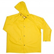 DEFIANCE FR™ .28 MM PVC/NYLON/PVC, YELLOW 2-PIECE RAIN JACKET, LIMITED FLAME RESISTANT, STORM FLY FRONT WITH SNAP BUTTONS, DETACHABLE HOOD
