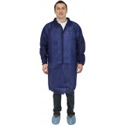 Blue Polypropylene Lab Coat, No Pockets & Elastic Wrists