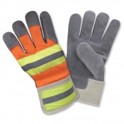 SELECT SHOULDER SPLIT COWHIDE LEATHER PALM, HI-VIS ORANGE BACK, TWO-TONE REFLECTIVE TAPE ON BACK & SAFETY CUFF