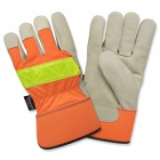 PREMIUM GRAIN PIGSKIN LEATHER PALM, THINSULATE® LINED, HI-VIS ORANGE BACK, LIME REFLECTIVE TAPE ON BACK, RUBBERIZED SAFETY CUFF