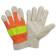 PREMIUM GRAIN PIGSKIN DRIVER, UNLINED, HI-VIS ORANGE BACK, LIME REFLECTIVE TAPE ON BACK, KEYSTONE THUMB