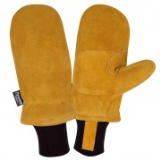 FREEZEBEATER® PREMIUM RUSSET SIDE SPLIT COWHIDE MITTEN, DOUBLE PALM & REINFORCED CROTCH, C150 THINSULATE® LINED, HEAVY NYLON KNIT WRIST