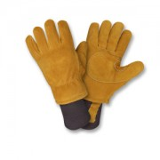 FREEZEBEATER® PREMIUM RUSSET SIDE SPLIT COWHIDE LEATHER PALM, DOUBLE PALM & REINFORCED CROTCH, C150 THINSULATE® LINED, HEAVY NYLON KNIT WRIST