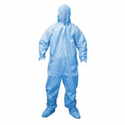 DEFENDER FR™ BLUE LIMITED FLAME RESISTANT COVERALL, ELASTIC WRISTS & BACK WITH HOOD