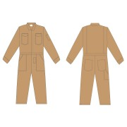 FOREFRONT™ FR COVERALL, KHAKI 7 OZ FIREZERO® TWILL FABRIC, FLAP CHEST POCKETS, ZIP FRONT, CHEST SIZE 36