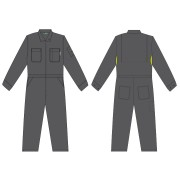 FOREFRONT™ FR VENTED COVERALL, GRAY 7 OZ FIREZERO® TWILL FABRIC, FLAP CHEST POCKETS, ZIP FRONT, CHEST SIZE 36