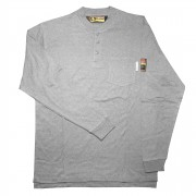FOREFRONT™ FR HENLEY,  GRAY, 6.5 OZ FIREZERO® INTERLOCK FABRIC, 3-BUTTONS, CHEST POCKET, SIZE 5XL
