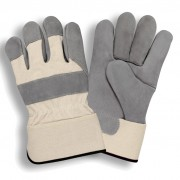PREMIUM, DOUBLE CHROME TANNED, HEAVY SIDE SPLIT LEATHER, WHITE CANVAS BACK, RUBBERIZED SAFETY CUFF, ARAMID SEWN