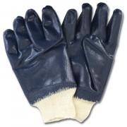 Blue Nitrile Dipped Smooth Finish, Knit Wrist, 1DZ Pair/Bag