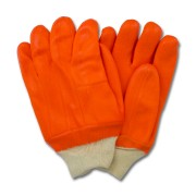 Orange PVC, Jersey Insulated Foam Lining, Knit Wrist, Rough Finish
