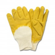 Yellow Crinkle Finish Latex, Cut Resistant, Knit Wrist, 1DZ Pair/Bag, Mens