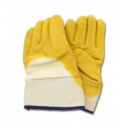 Yellow Crinkle Finish Latex, Cut Resistant, Safety Cuff, 1DZ Pair/Bag