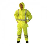 REPTYLE™ CLASS 3 RAIN JACKET, LIME 300D POLYESTER/PU FABRIC, 3M REFLECTIVE TAPE, CHEST POCKET, SNAP CLOSURE WITH STORM FLAP, HOOK & LOOP WRIST CLOSURES