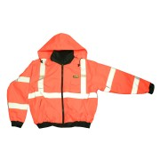 REPTYLE™ CLASS 3, ORANGE BOMBER JACKET, PU COATED POLYESTER SHELL, ATTACHED QUILTED LINING, CONCEALED/ATTACHED HOOD