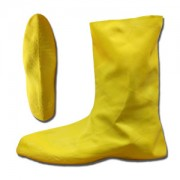 HAZMAT/NUKE BOOTS, .75 MM. NATURAL RUBBER, YELLOW, UNLINED, 12-INCH LENGTH, RIBBED/TEXTURED SOLE